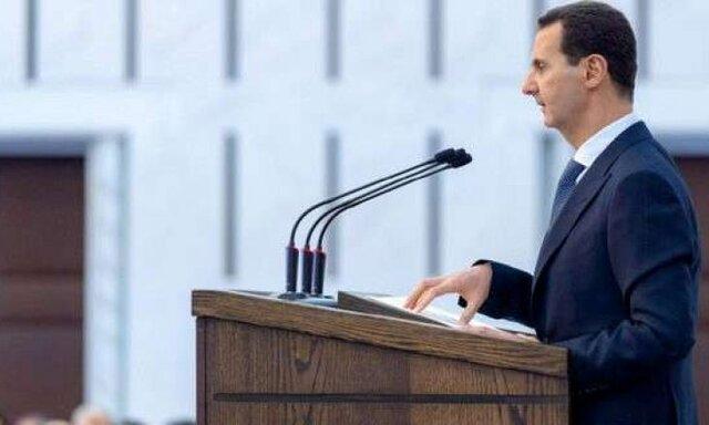 بشار اسد حین سخنرانی در پارلمان فشارش افتاد!